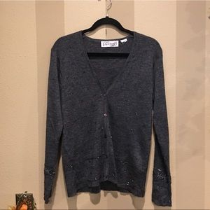 Sweaters - Charcoal gray bead embellished sweater